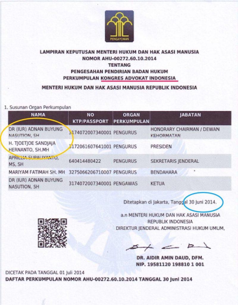 Legalitas Kongres Advokat Indonesia